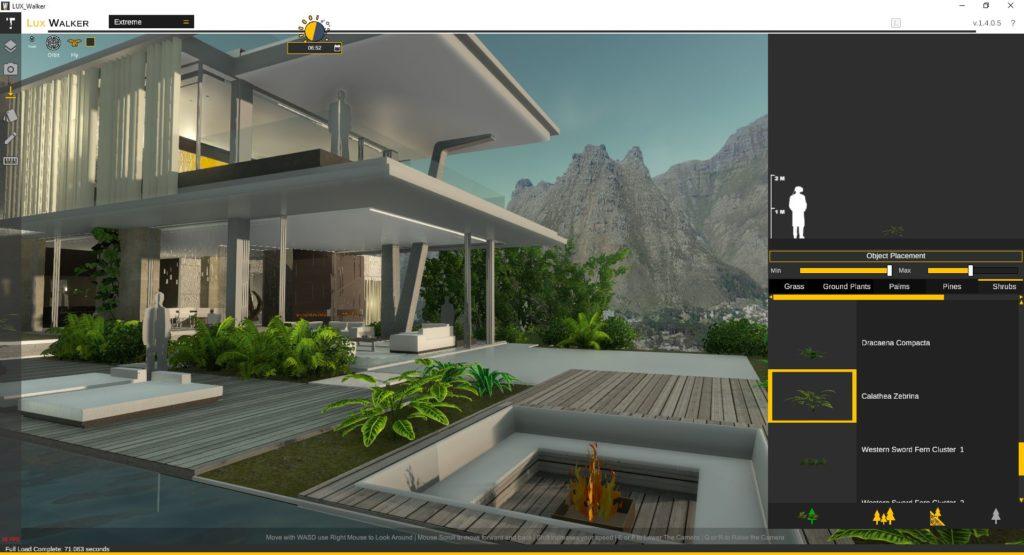 LUX Walker Desktop Mode: Place trees
